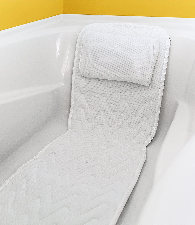 Full Body Bath Pillow & Mat – Non-Slip, Plus Konjac Bath Sponge, Luxury Cushion, Supports Your Head, Neck, Shoulder, Back and Tailbone, Anti-Bacterial Harrison House