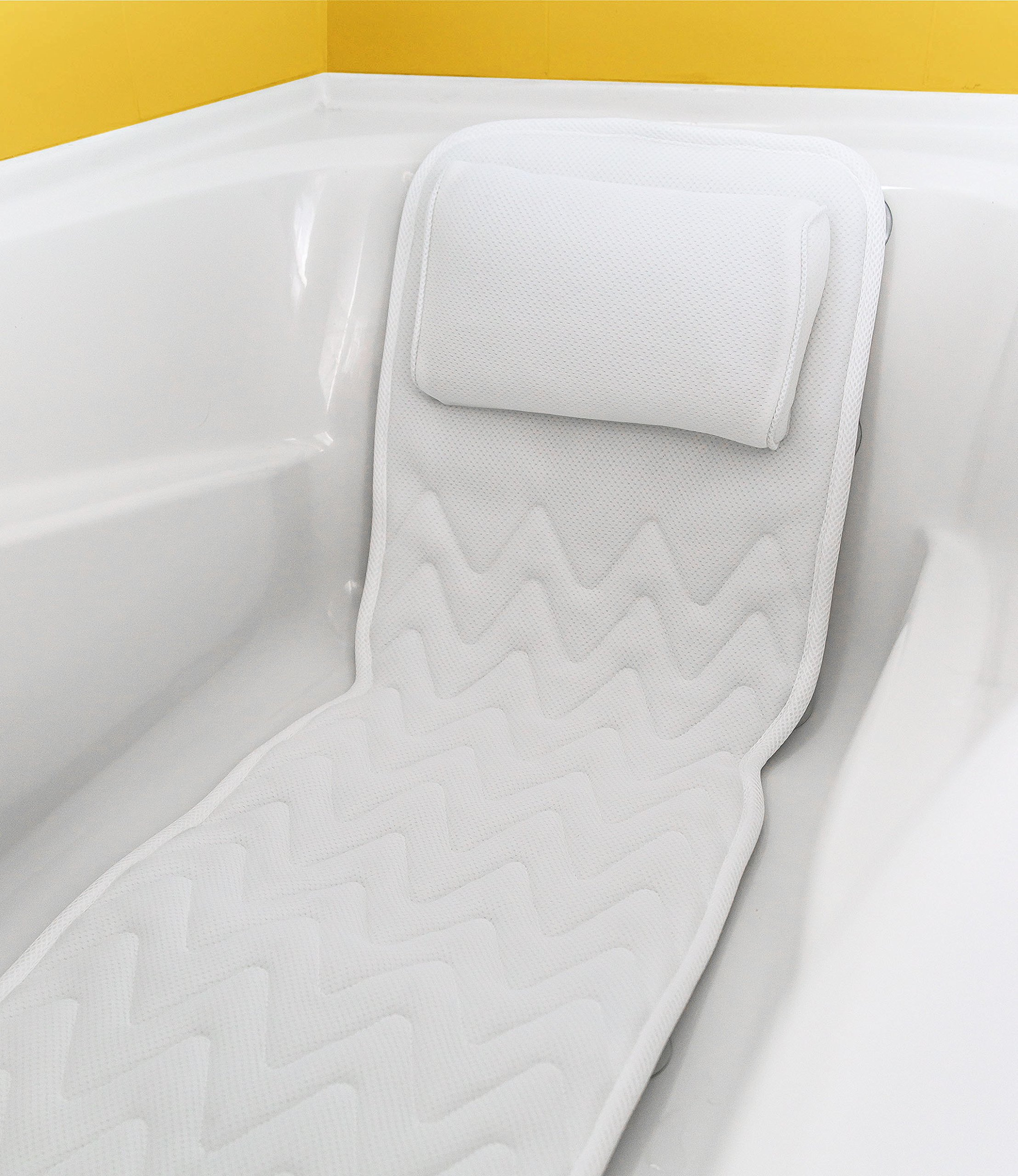 Full Body Bath Pillow & Mat – Non-Slip, Plus Konjac Bath Sponge, Luxury Cushion, Supports your head, Neck, Shoulder, Back and Tailbone, Anti-Bacterial