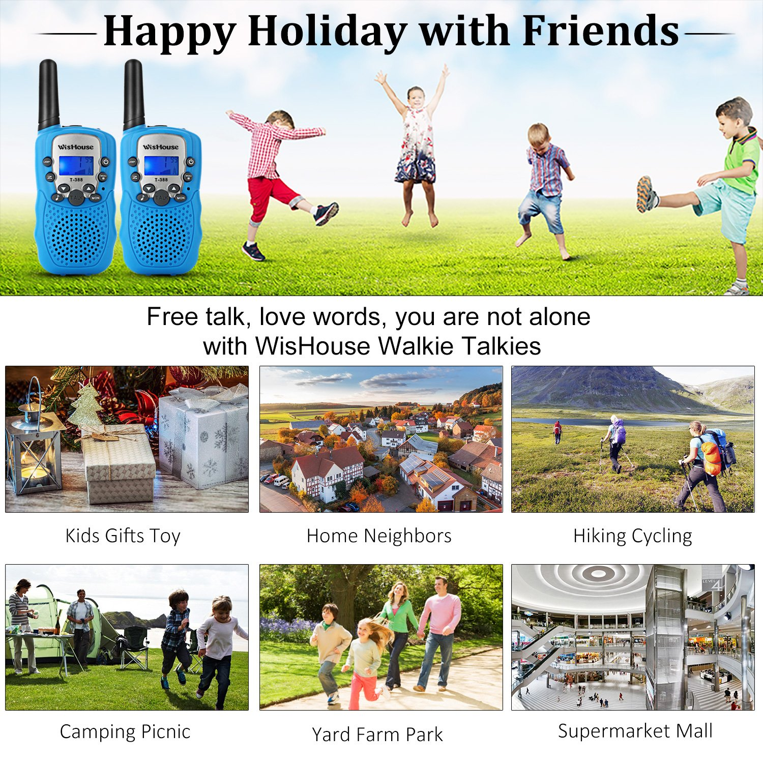 WisHouse Walkie Talkies for Kids,Fashion Toys for Boys and Girls Best Handheld Two Way Radio with Flashlight for 4 Year Old and up to Camping Hiking Riding and Cruise Ship(T388 Blue 4 Pack) by Wishouse (Image #2)