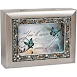 How Much You Mean to Me Brushed Pewter Finish Jeweled Jewelry Music Box Plays Wonderful World