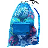 Fitdom Extra Large Heavy Duty Mesh Bag. Best for Soccer Ball, Water Sports, Beach Cloth, Swimming Gears. Adjustable Shoulder