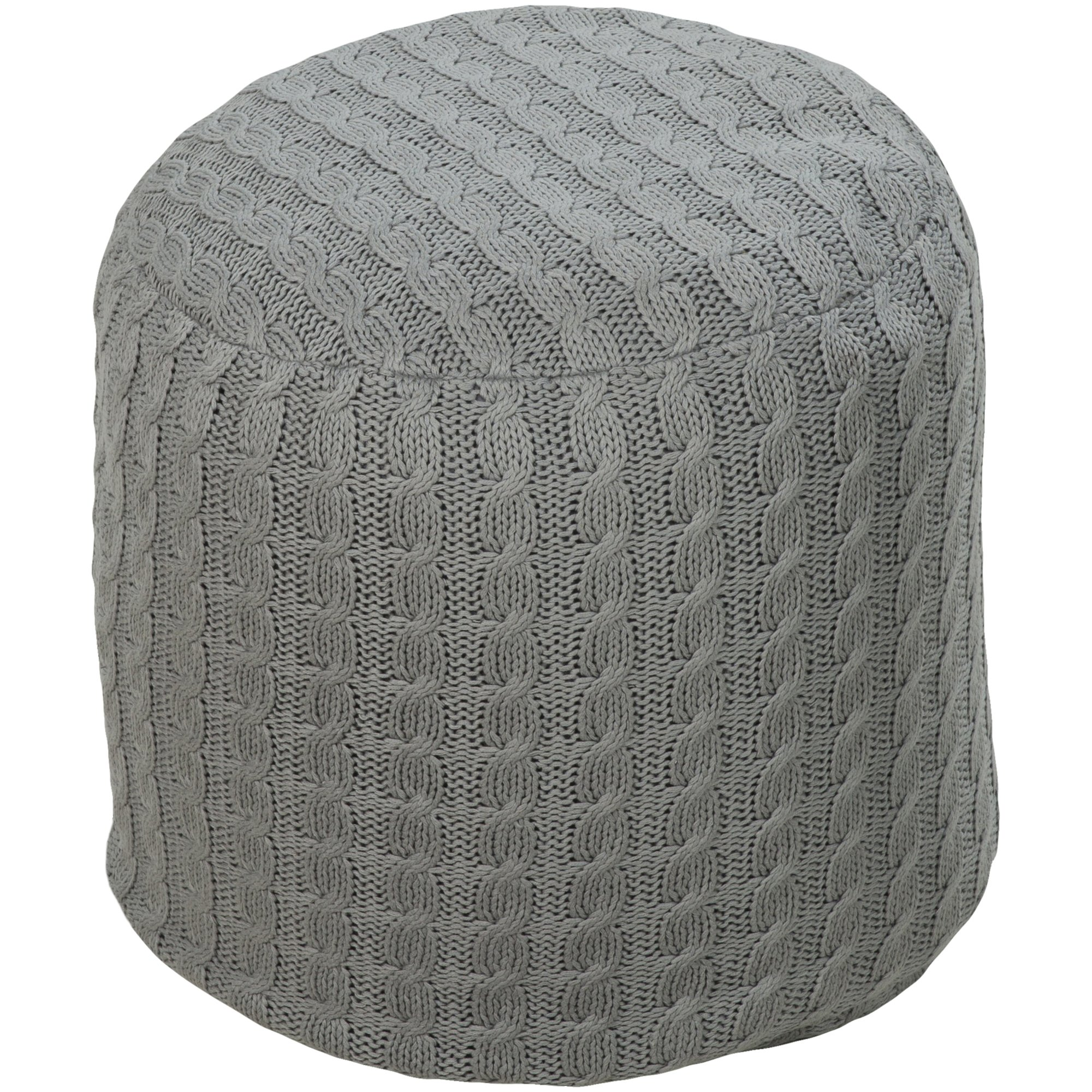 Surya POUF-53 Hand Made 100% Cotton Teal 18'' ROUND Pouf