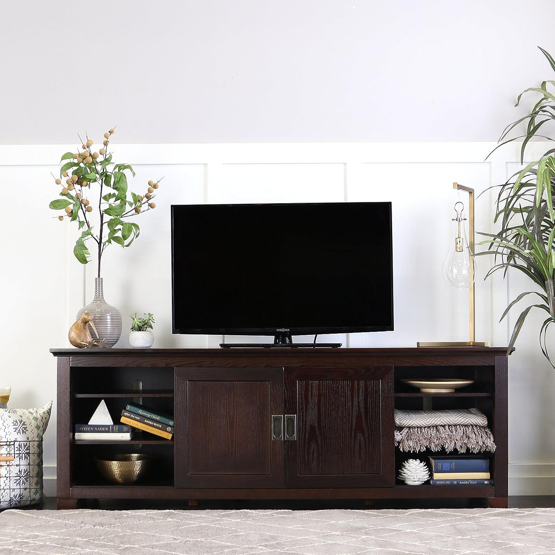 Amazon Com We Furniture 70 Wood Tv Console With Sliding Doors