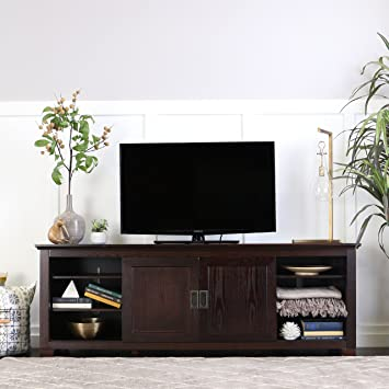 Amazon WE Furniture  Wood TV Console with Sliding Doors