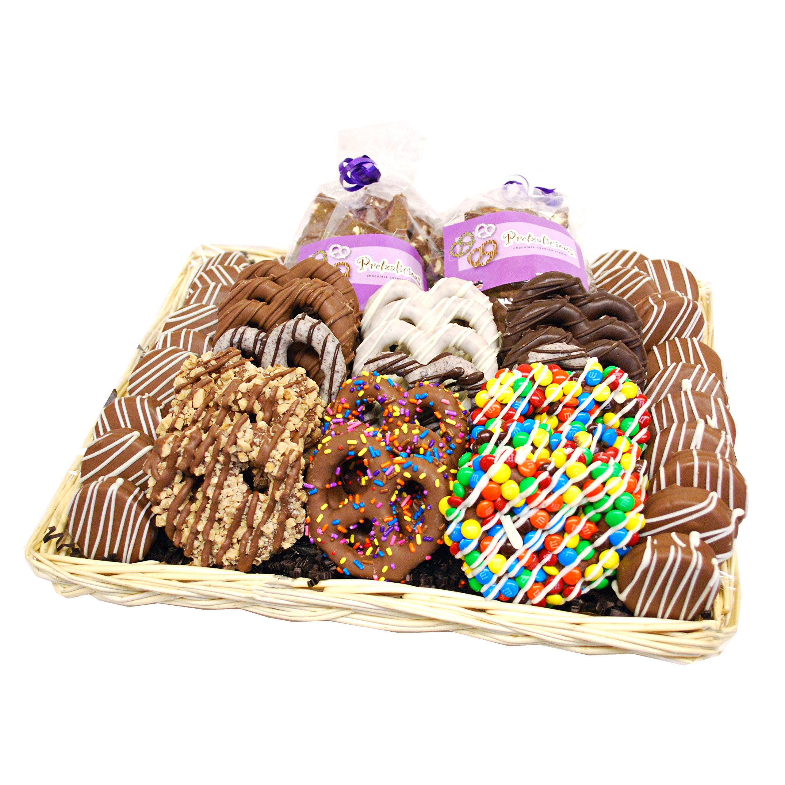 All City Candy's Cravings Collection Gourmet Hand Dipped Chocolate Covered Pretzels and Cookies Basket by All City Candy