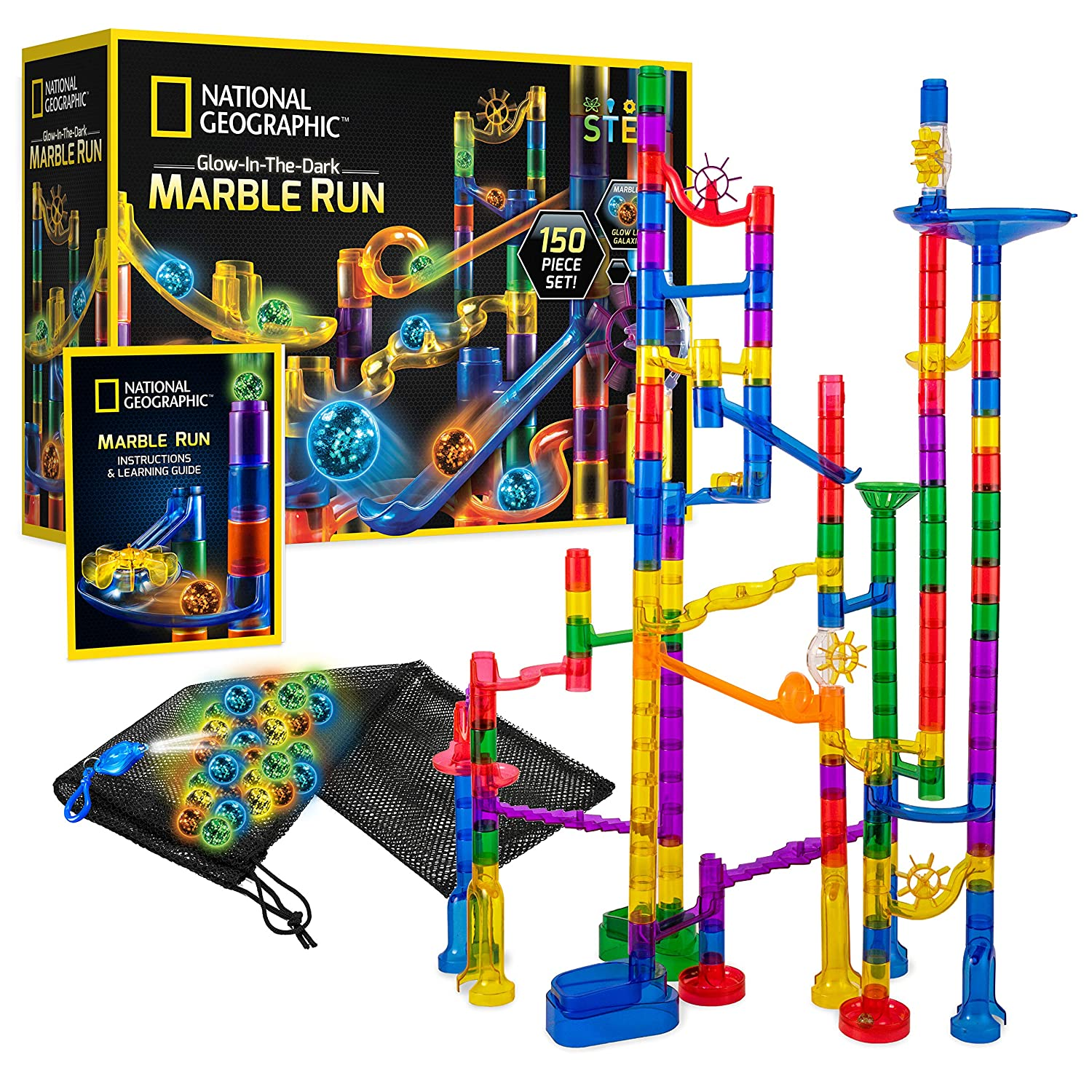 NATIONAL GEOGRAPHIC Marble Run Bundle /& UV Light Keychain Expansion Pack with 5 Glow-in-The-Dark Glass Marbles 20 Constructionpiece Great Creative Stem Toy for Girls /& Boys