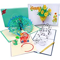 3D Pop Up Cards with Elegant Envelope, Diamond Pen, Message Insert for All Special Occasions - 4 Big Pack Handmade…