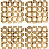 HOKIPO® Square Bamboo Coaster Heat Pad, Pan Pot Holder, 16 x 16 cm, 4 Piece Set