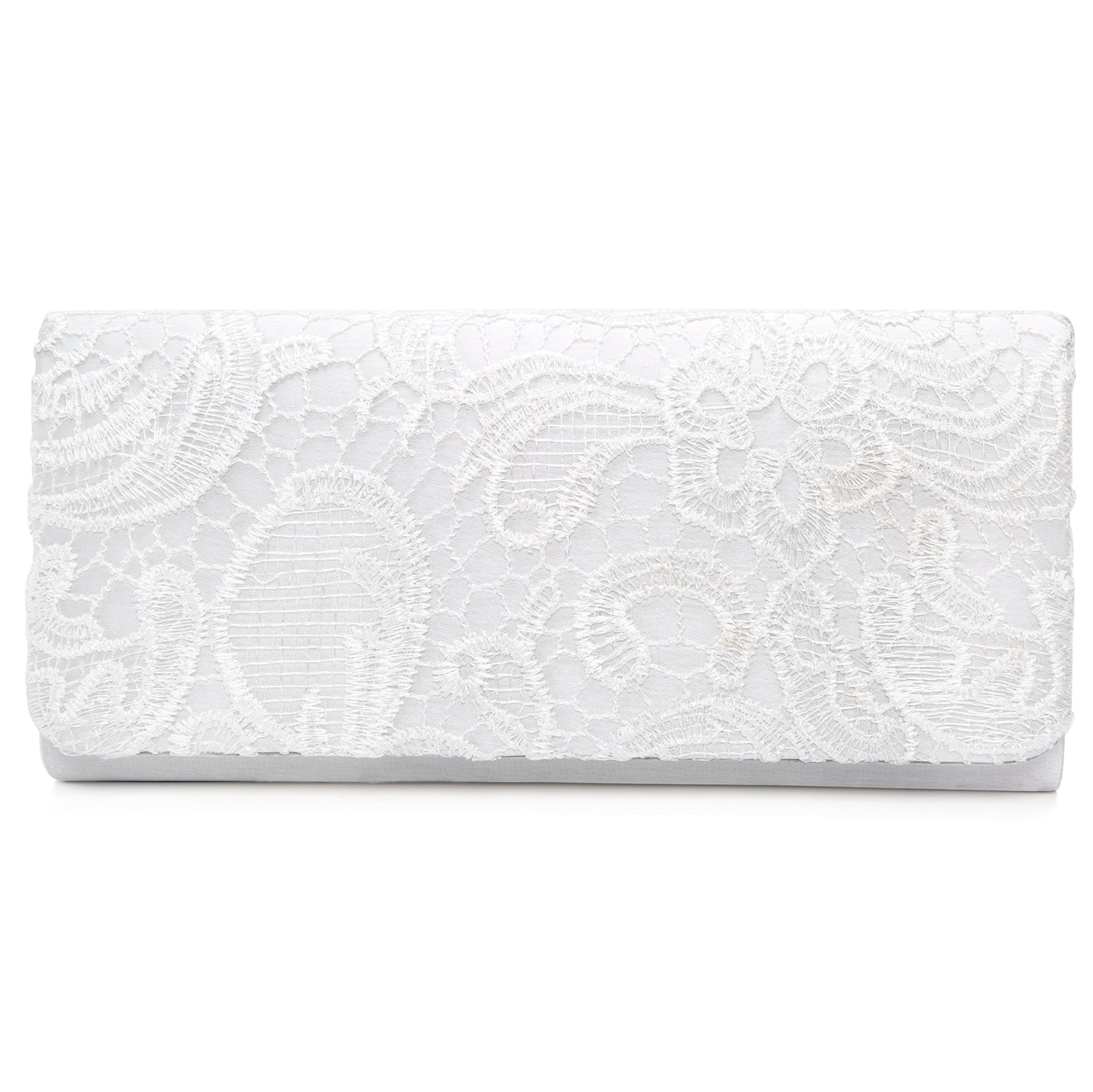 Chichitop Women's Elegant Floral Lace Evening Party Clutch Bags Bridal Wedding Purse Handbag,White by Chichitop (Image #2)