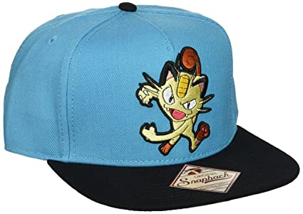 bb5f3f1f65d7f3 Image Unavailable. Image not available for. Color: BIOWORLD Pokemon Meowth Embroidered  Turquoise Snapback Cap
