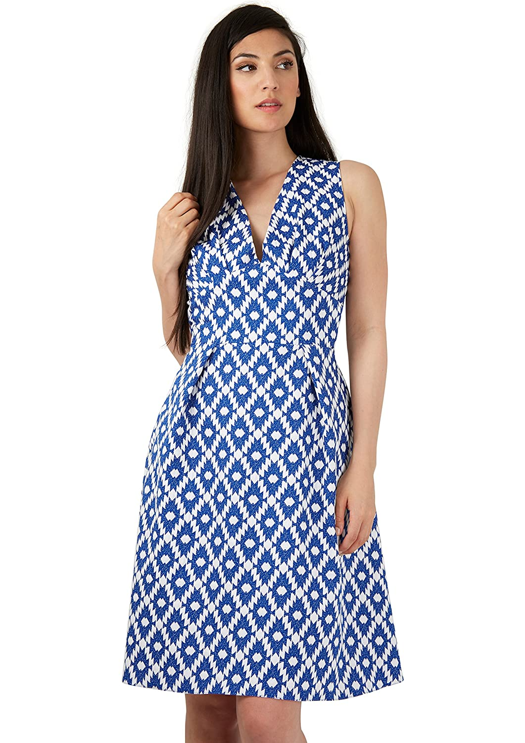 Closet Blue Asymmetric Print V-Neck Dress