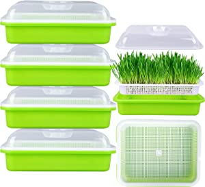 FiGoal 4 Pack Sprout Tray with Cover Soil-Free Seeds Grower and Storage Trays for Garden Home Kitchen Use with Bonus Spray Paper (Zero Experience Needed)