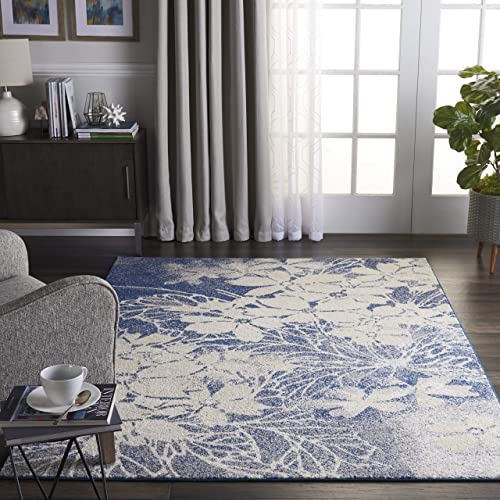 Nourison TRA08 Tranquil Floral Contemporary Beige Navy Area Rug 4 X 6