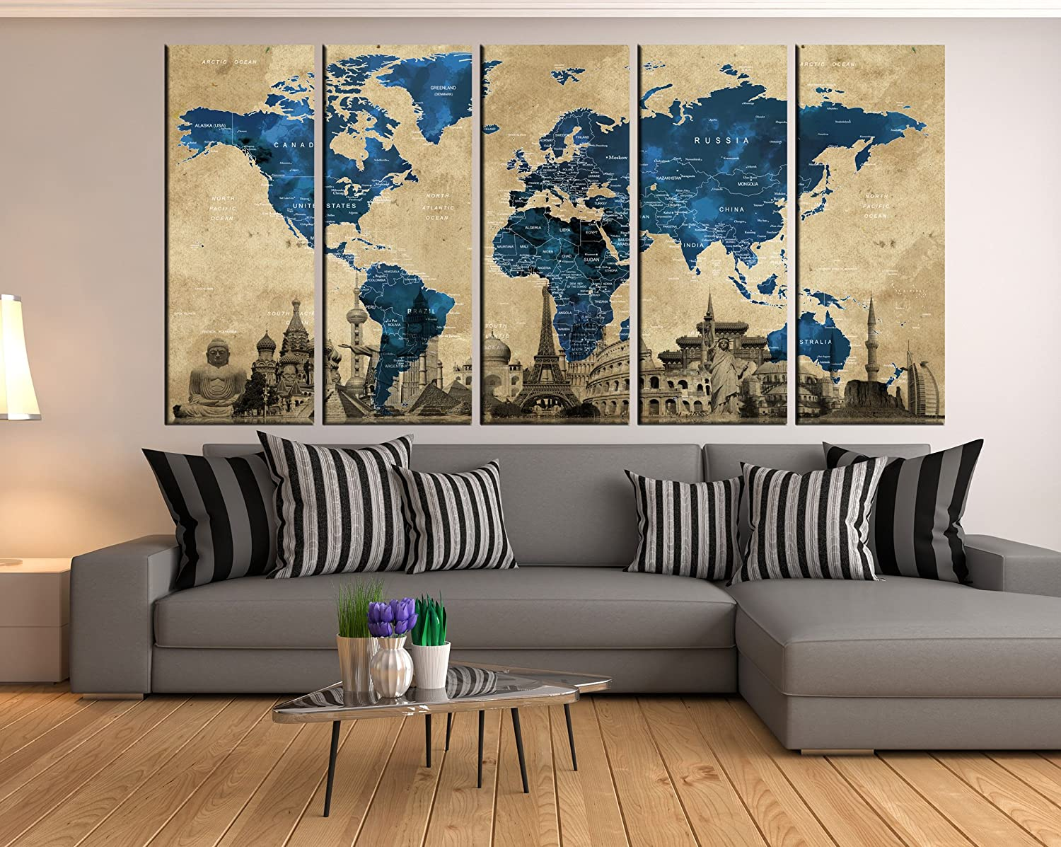Marvelous Amazon Com Large Abstract Wall Art World Map Canvas Wall Download Free Architecture Designs Scobabritishbridgeorg