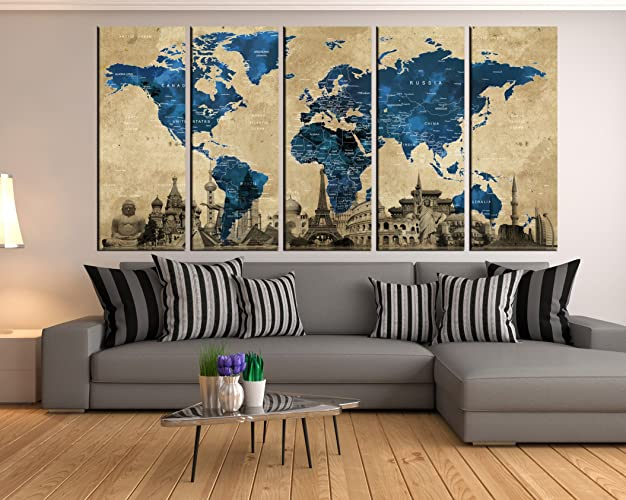 Amazon Com Large Abstract Wall Art World Map Canvas Wall Art
