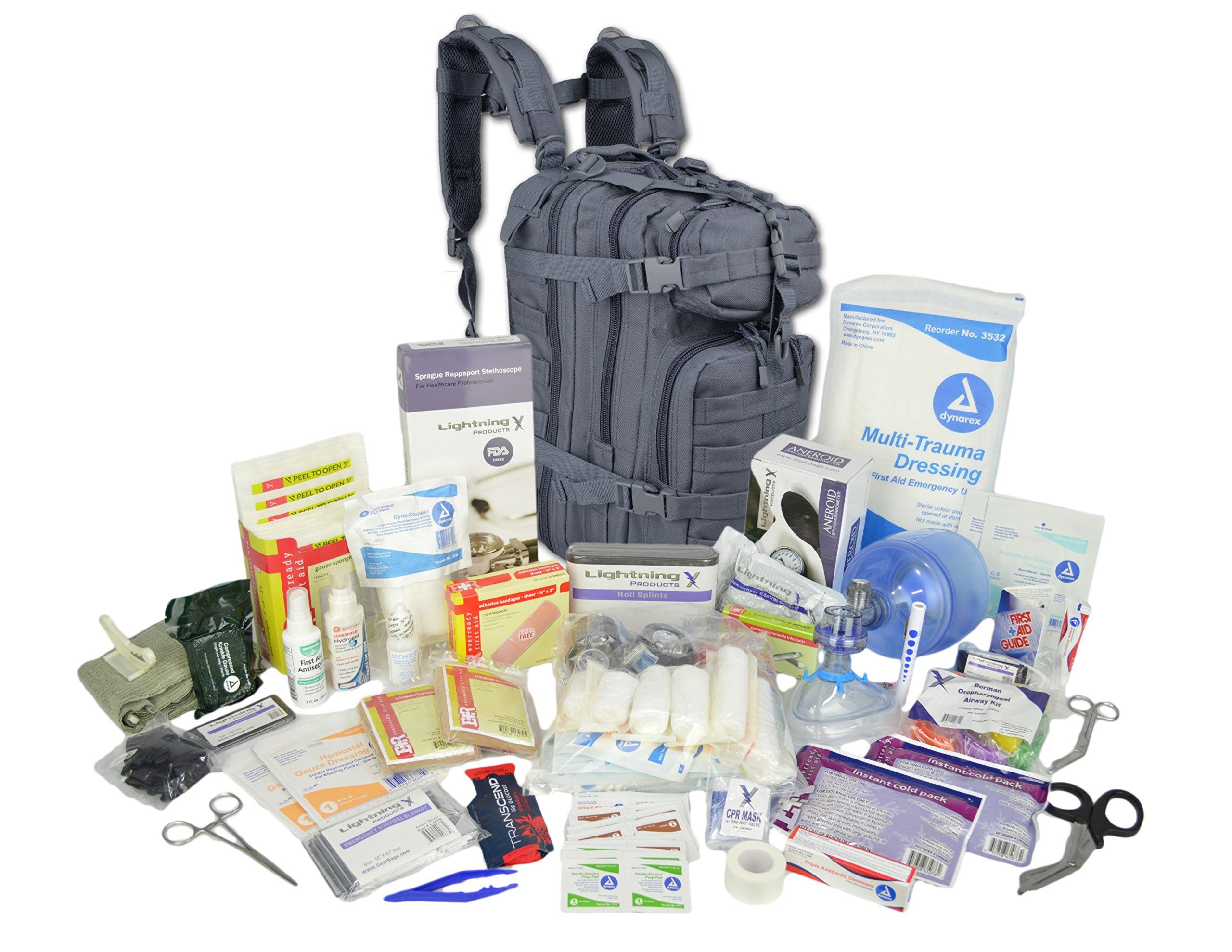 Lightning X Stocked EMS/EMT Trauma & Bleeding First Aid Responder Medical Backpack + Kit (Grey)