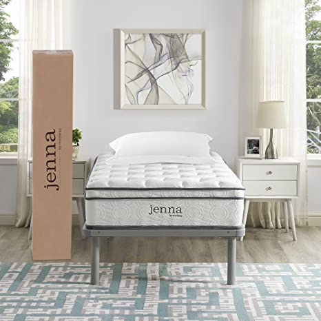 "Modway Ultimate Quilted Pillow Top 10"" Jenna Twin Innerspring Mattress - Individually Encased Pocket Coils - 10-Year Warranty"