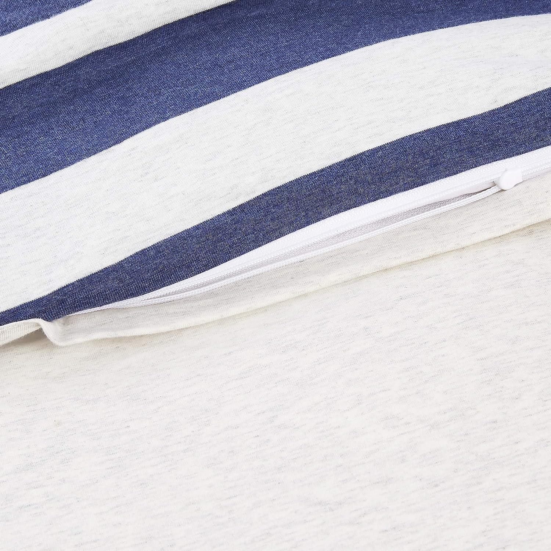 larges rayures Bleu marine Basics Parure de lit en jersey 240 x 220 cm // 65 x 65 cm
