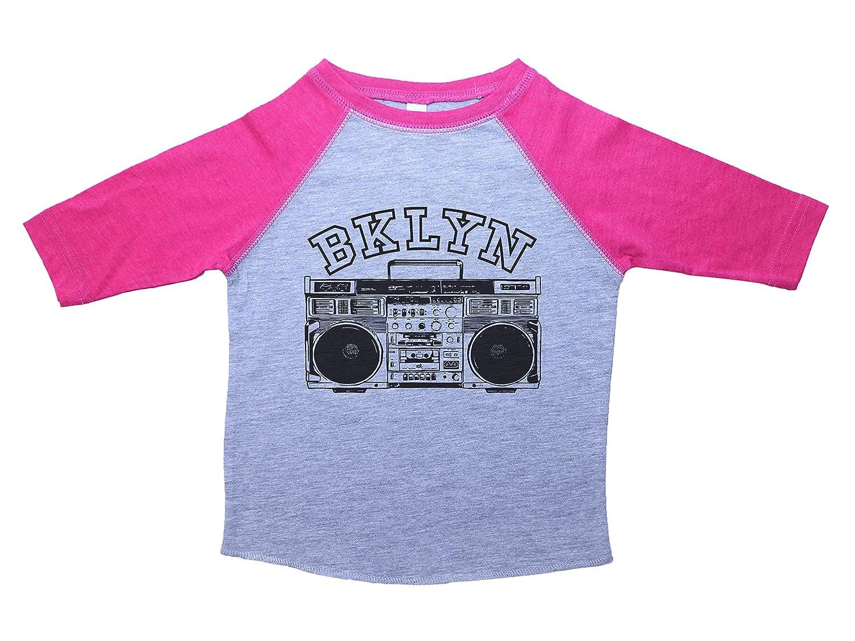 Baffle Brooklyn Kids Shirt//BKLYN//Unisex Raglan Baseball Tee For Kids//NYC 2T, Heather /& Pink