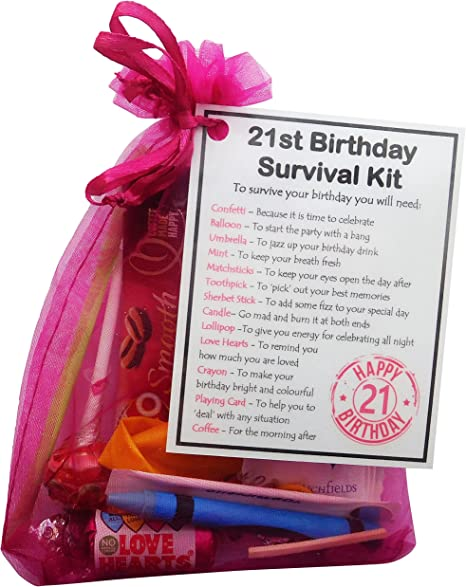 Smile Gifts Uk 21st Birthday Gift Unique Survival Kit Hot Pink 21st Birthday Gift 21st Birthday Present 21st Gift 21st Present 21st Birthday Amazon Co Uk Kitchen Home