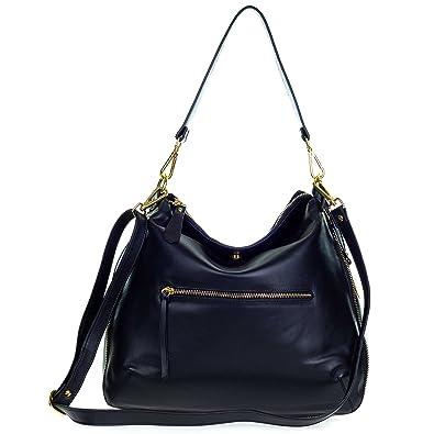 2400aee103 Amazon.com  Giordano Italian Made Black Leather Hobo Bag with Pocket  Shoes