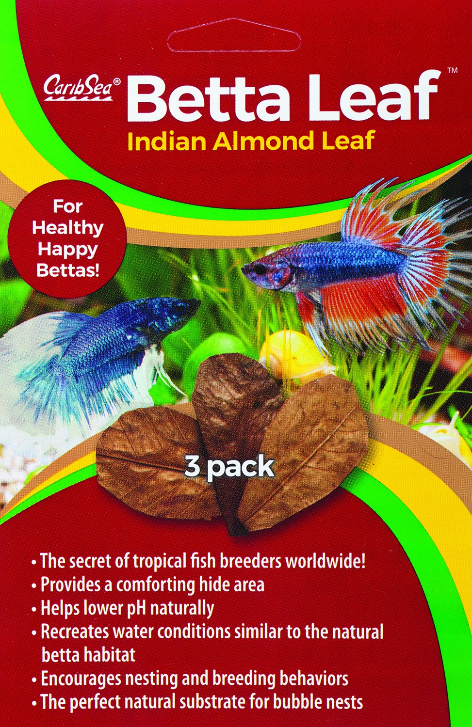 CaribSea Aquatics Betta Leaf Indian Almond Leaf 3 Pk Inc 00650
