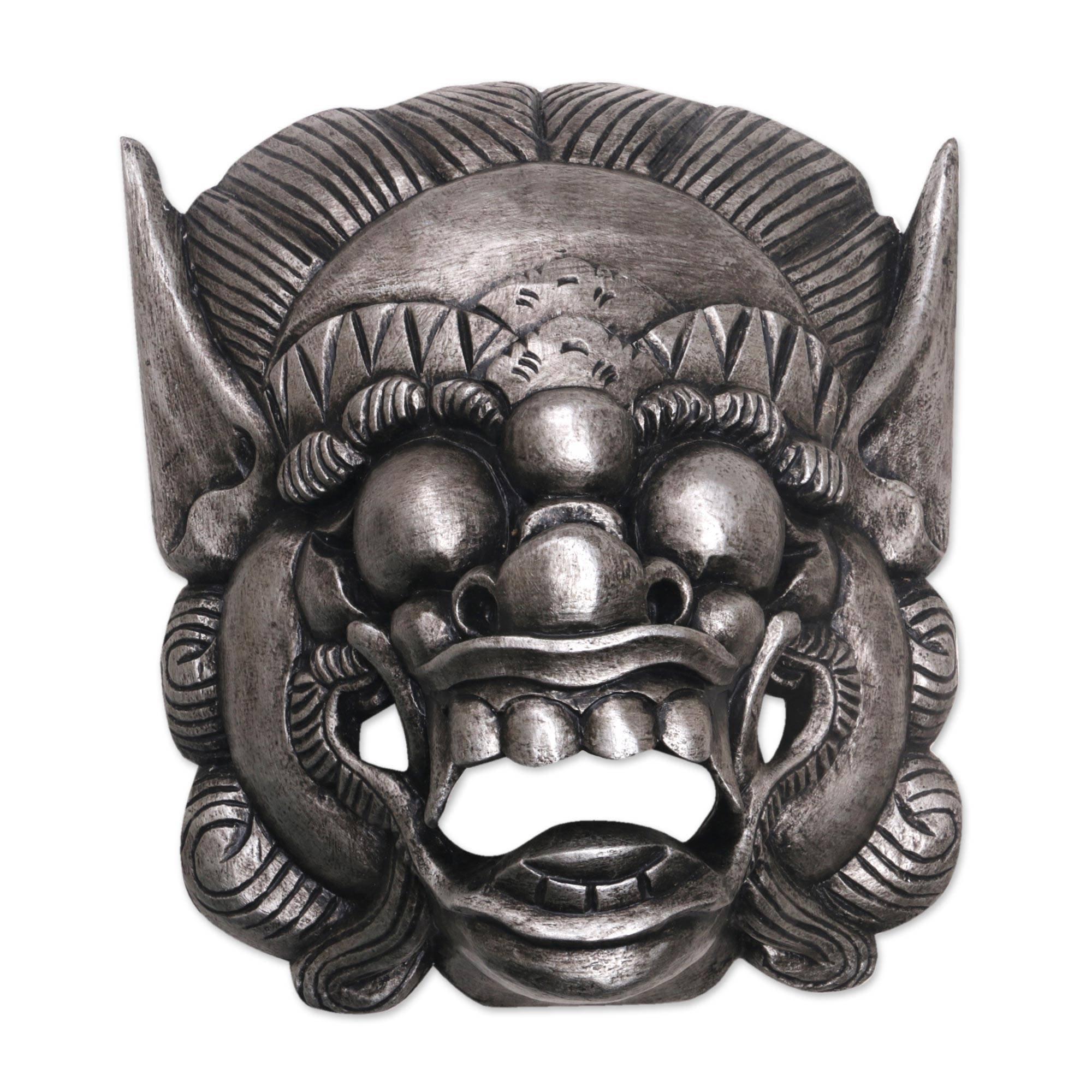 NOVICA Cultural Decorative Wood Mask, Grey, Barong Celeng' by NOVICA