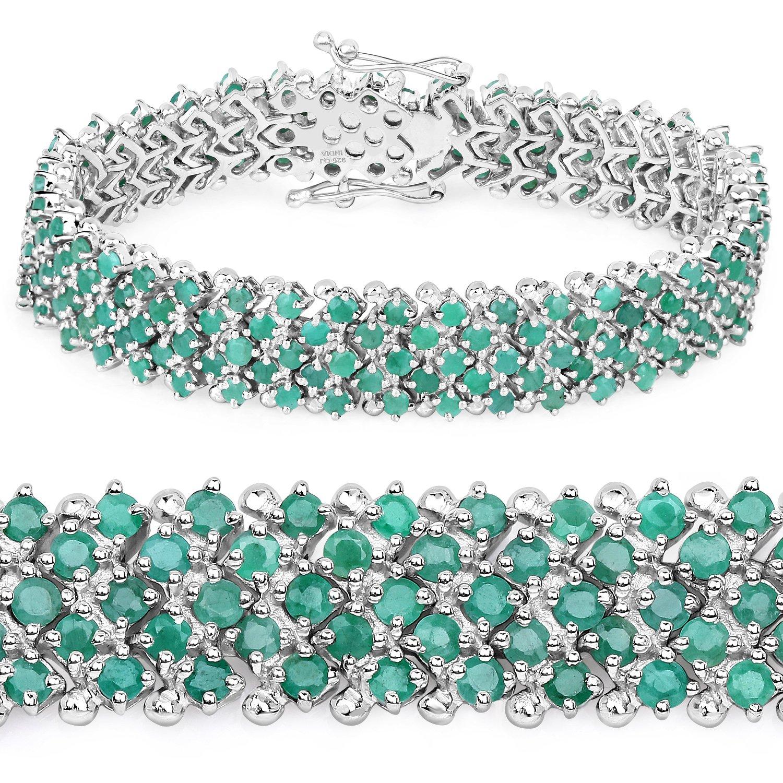925 Sterling Silver Bracelet Emerald Round 10.73 ct Genuine Gemstone 7.50 inches