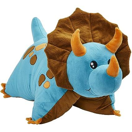 Amazon Com Pillow Pets Triceratops Blue Dinosaur 18 Stuffed