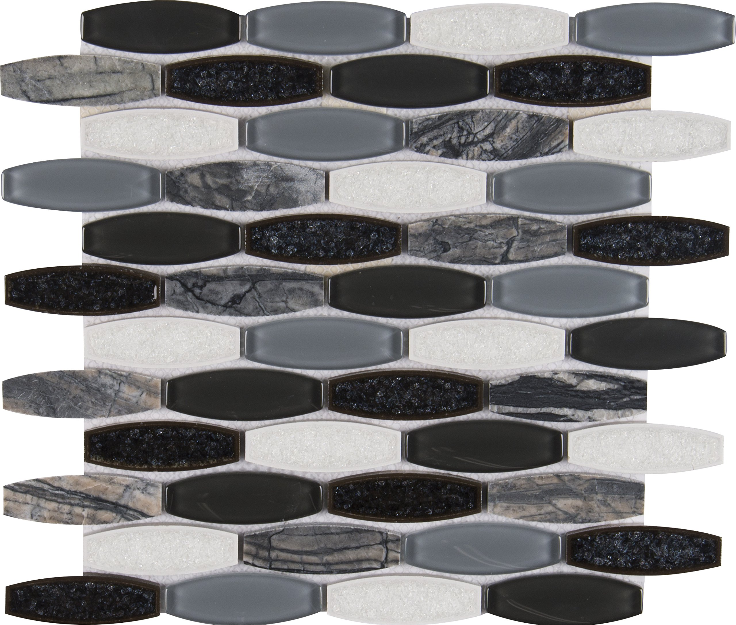 M S International Haley Gris 11.41 In. X 12 In. X 8 mm Glass Stone Mesh-Mounted Mosaic Tile, (9.5 sq. ft., 10 pieces per case)