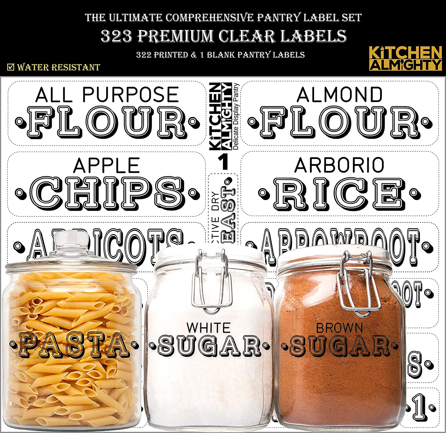 KITCHEN ALMIGHTY Pantry Labels: 323 Delicate Display Gloss Clear Preprinted Water Resistant Complete Label Set to Organize Storage Containers, Jars & Canisters w/a Extra Write-on Sticker