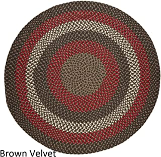 product image for Rhody Rug Mission Hill 4 ft Round Indoor/Outdoor Braided Area Rug - Made in USA Brown Velvet