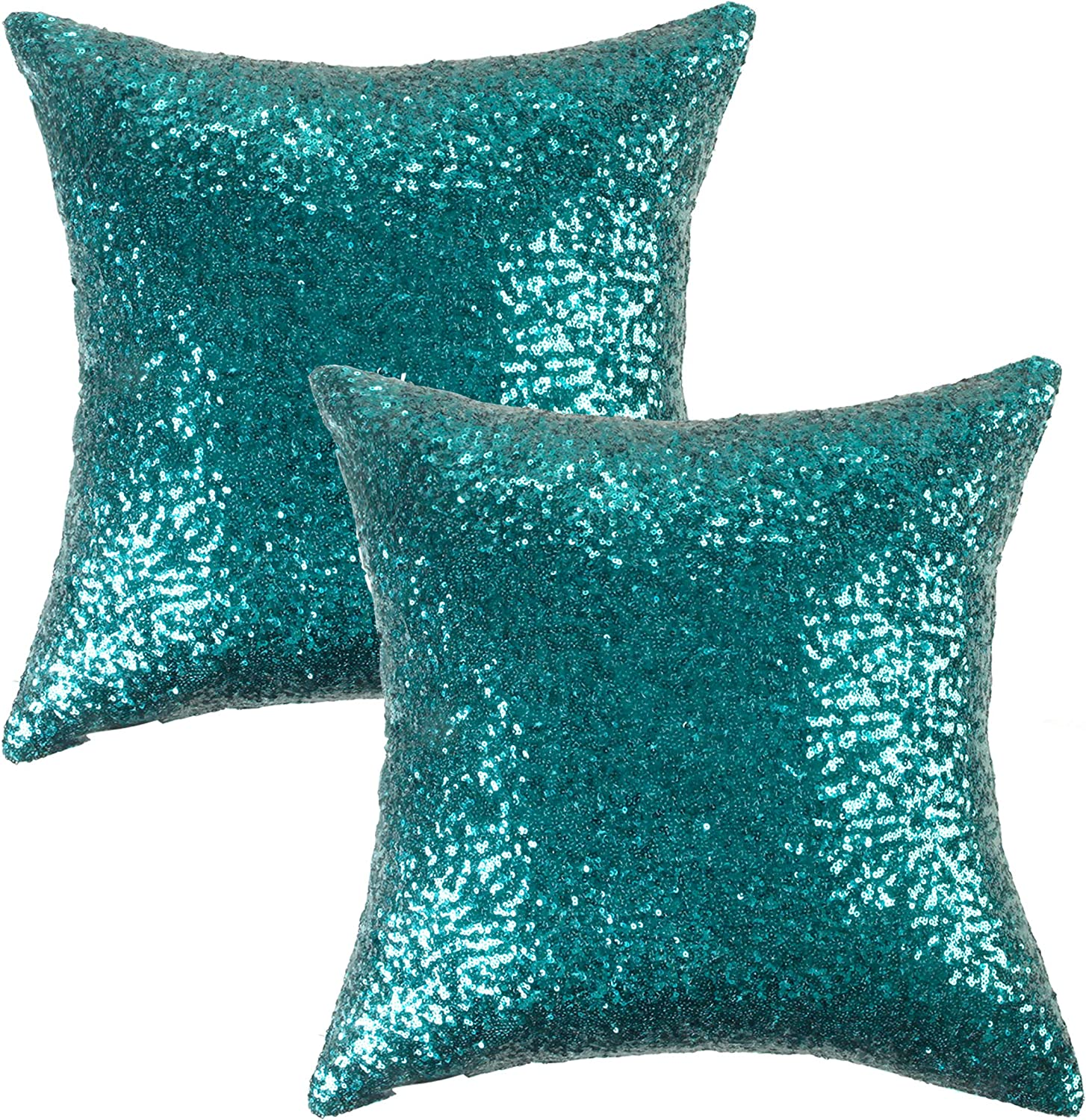 Kevin Textile Sequin Decor Pillow Cases Sequins New Year Party/Wedding Decorative Throw Cushion Cover Sham, Hidden Zipper Design(45cmx45cm),(2 Pieces,Teal)