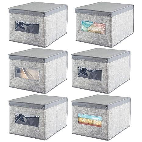 mDesign Juego de 6 cajas de almacenaje apilables con ventana para el armario y el dormitorio