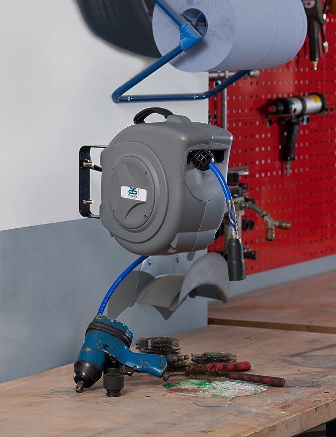 As Schwabe 12613 Profi - Enrollador de mangueras de aire comprimido (15 m, poliuretano, 8x12, IP20, para uso en interiores, incluye soporte para pared), ...