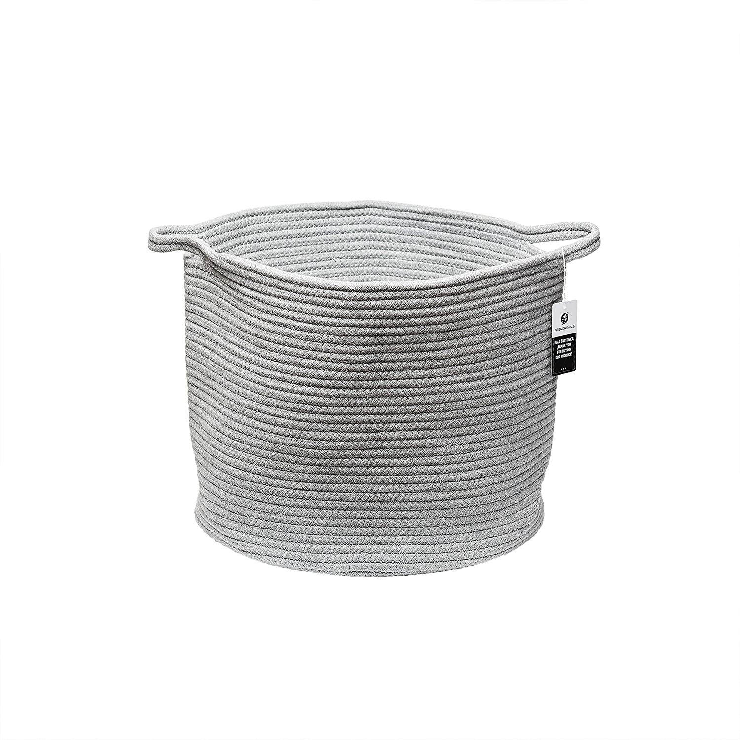 10e4e06c64dd Amazon.com: Extra Large Cotton Rope Storage Baskets Woven Toy Basket for  Nursery, Grey Wicker Basket for Fabric, Round Baby Diaper Laundry Basket  with ...