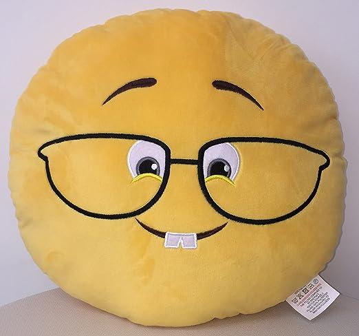 Cojín redondo suave con diseño de Emoji, 33 cm: Amazon.es: Hogar
