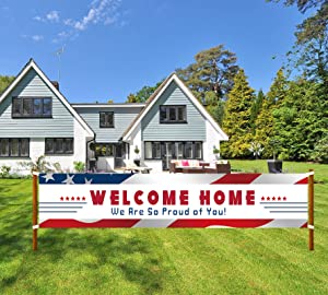 Welcome Home Banner, We Are So Proud of You Banner, Deployment Returning Party Supplies, Military Army Homecoming Party Decorations