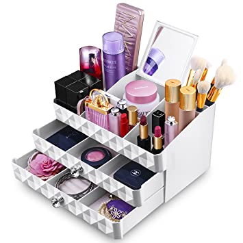 MaxKim Makeup Jewelry Organizer 2 Drawer With 15 Compartments And Mirror  For Cosmetics, Jewelries,