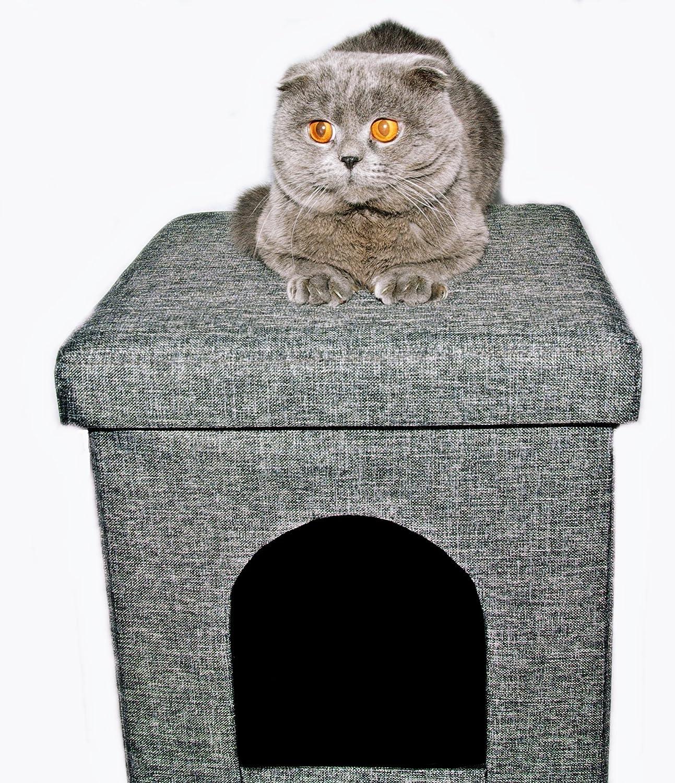 Tabouret/ottomane chat avec grottes 38x 38x 38cm Kiwiland