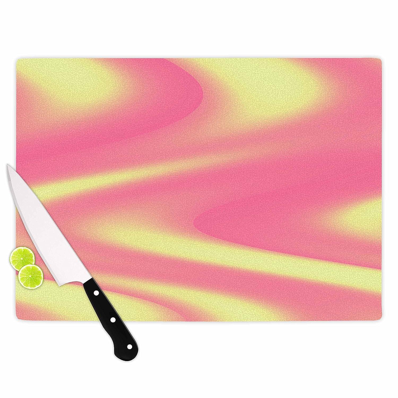 KESS InHouse Sylvia CoomesSherbert Swirl Pink Yellow Cutting Board Multicolor 11.5 x 15.75