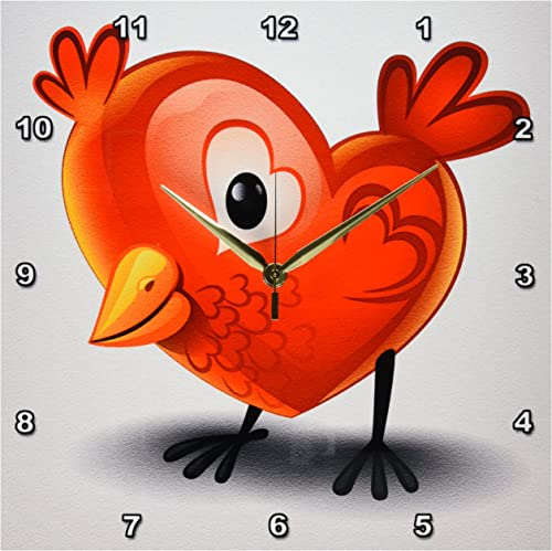 3dRose DPP_167260_2 Adorable Baby Chick Shaped Like a Heart with Heart Wings Wall Clock, 13 by 13-Inch