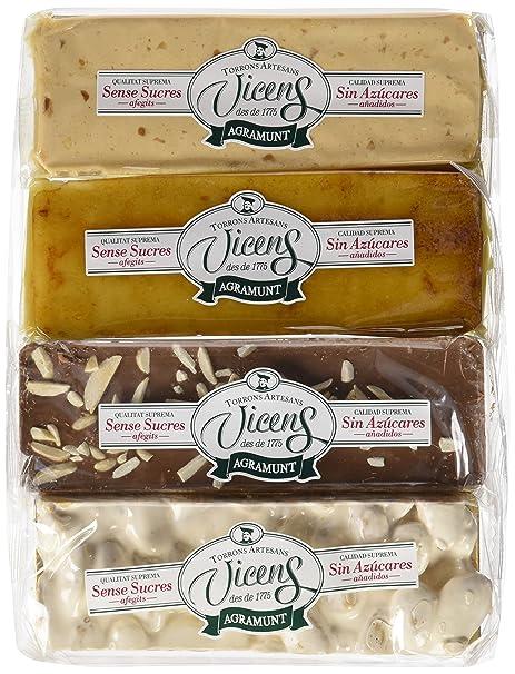 Vicens Estuche Turrónes sin Azúcar - Pack de 4 x 80 g - Total: 320