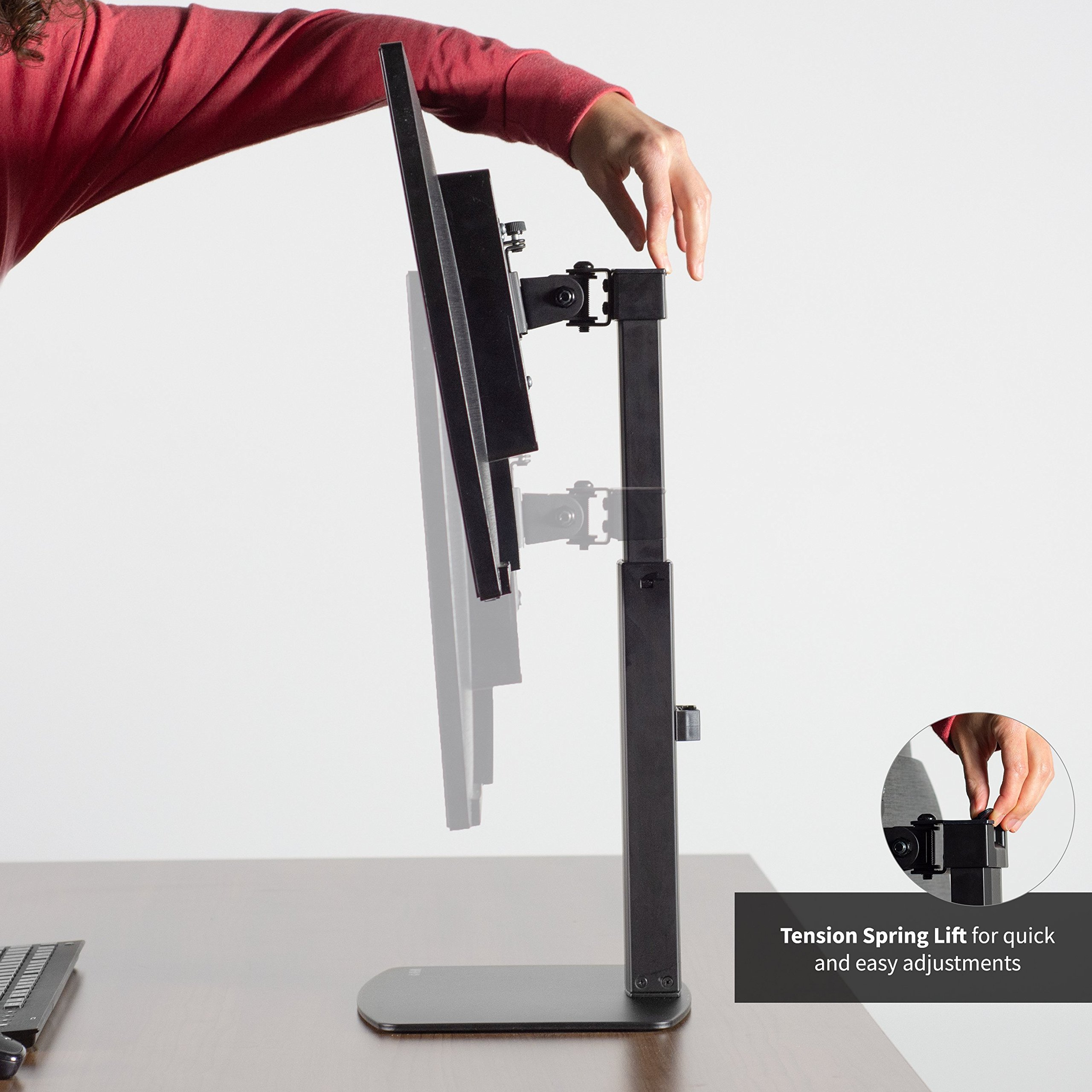"""VIVO Black Universal Free Standing Single Monitor Mount Desk Stand 