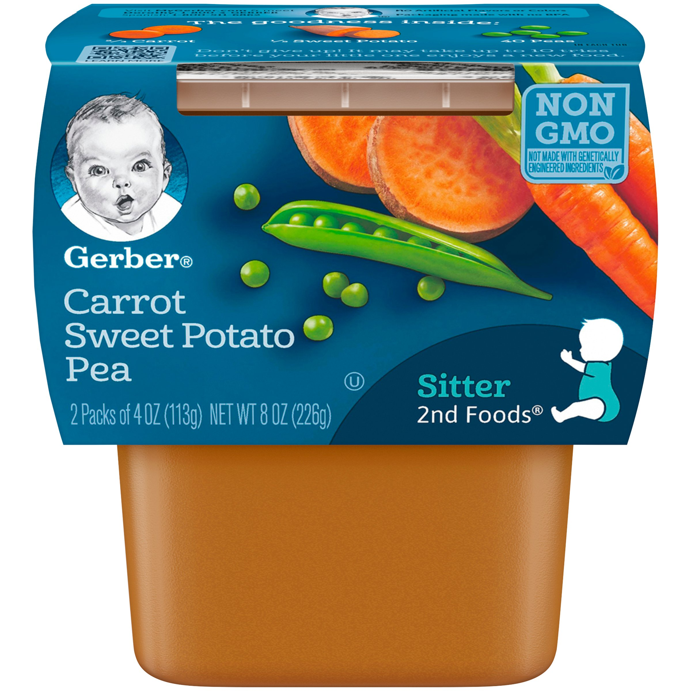Gerber 2nd Foods Carrot Sweet Potato Pea Baby Food, 4 Ounce Tubs, 2 Count (Pack of 8) by Gerber