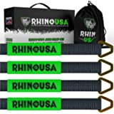 Rhino USA Axle Tie Down Straps (4-Pack) 2' x 38' - Lab Tested 11,128lb. Break Strength - Heavy Duty Protective Sleeves…