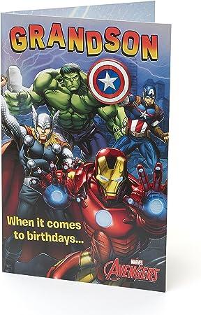 Amazon.com: Marvel Avengers tarjeta de cumpleaños para nieto ...