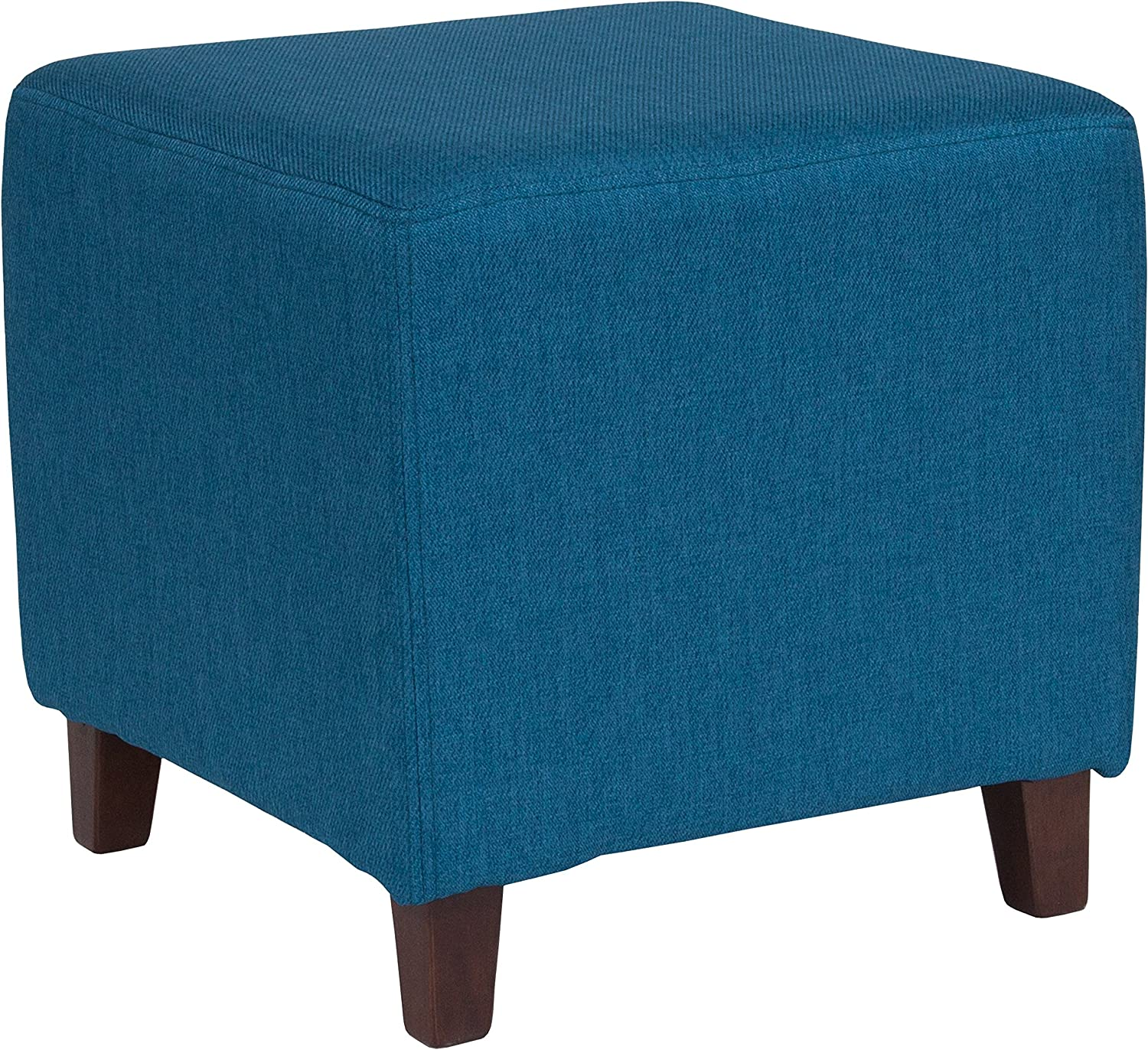 Flash Furniture Ascalon Upholstered Ottoman Pouf in Blue Fabric