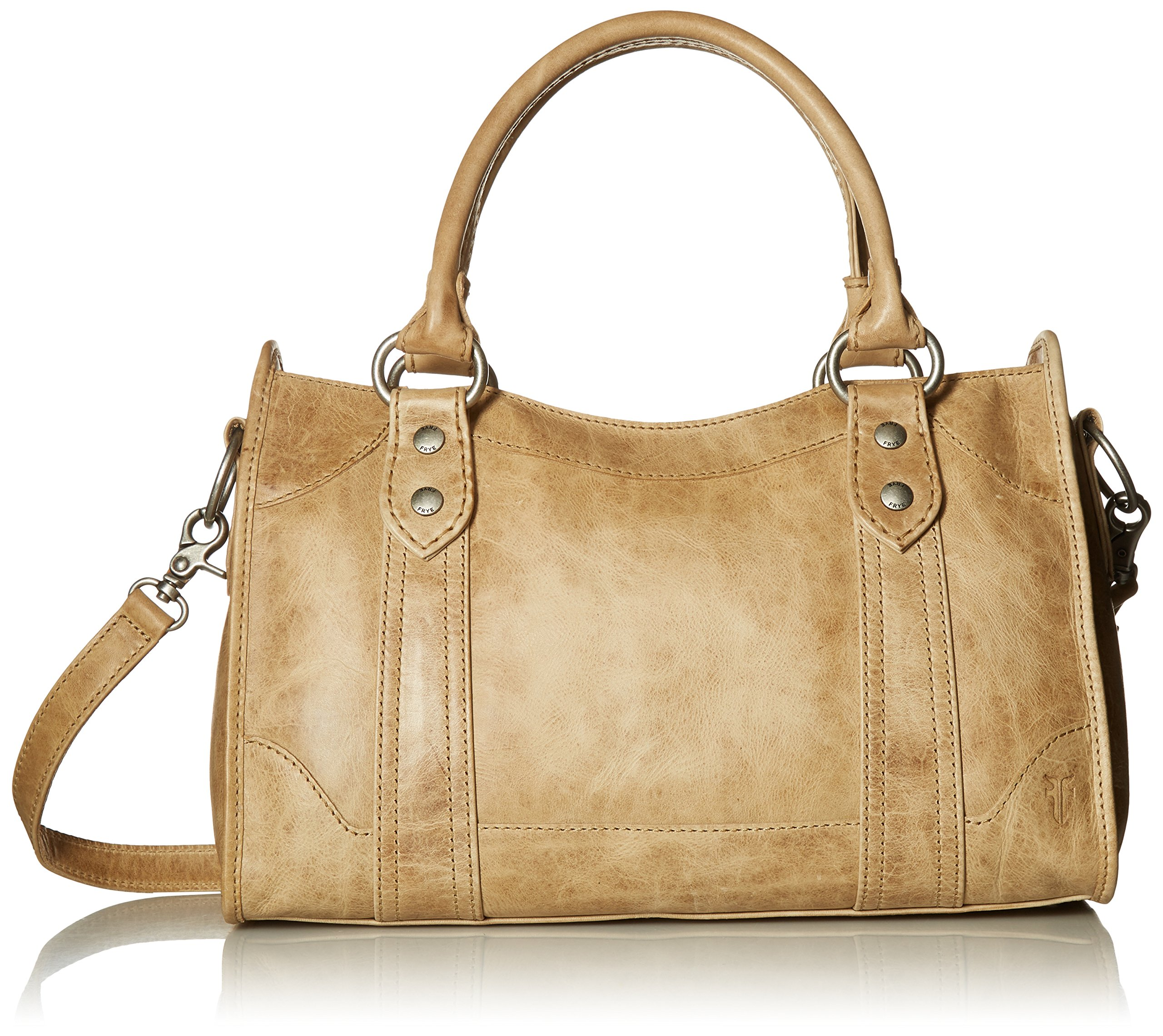 FRYE Melissa Zip Satchel Leather Handbag, Sand