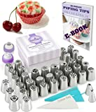 Russian Piping Tips Set 79 pcs - 38 Icing Frosting Nozzles ( 2 Leaf Tips ) + 36 Baking Pastry Bags + 2 Couplers + Silicone Bag + Cotton Bag + Gift Box - Cake Cupcake Decorating Supplies Kit
